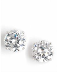 Lord & Taylor | Metallic Platinum-plated Cubic Zirconia Stud Earrings | Lyst