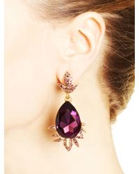 Oscar de la Renta - Purple Ultraviolet Swarovski Crystal Teardrop Earrings - Lyst