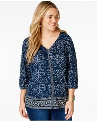 Lucky Brand | Blue Lucky Brand Plus Size V-neck Printed Peasant Top | Lyst