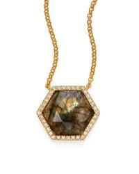 Mija - Brown Labradorite & White Sapphire Hexagon Pendant Necklace - Lyst