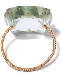 Laurent Gandini - Metallic Rose Gold Light Green Scalloped Prasiolite Ring - Lyst