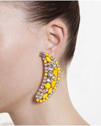 Shourouk - Yellow Crystal Banana Earrings - Lyst
