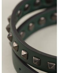 Valentino - Green 'Rockstud' Bracelet for Men - Lyst