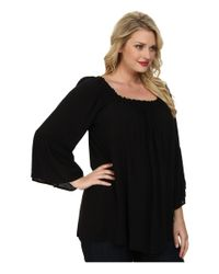 Stetson - Black Plus Size 9319 Solid Rayon Peasant Top - Lyst