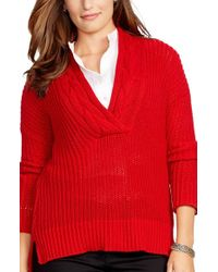 Lauren by Ralph Lauren - Red Cable V-neck Sweater - Lyst