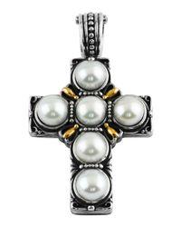Konstantino - White Silver & 18k Pearl Cross Pendant Enhancer - Lyst