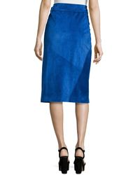 Jil Sander - Blue Patched Suede Wrap Skirt - Lyst