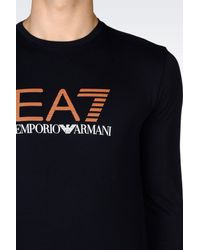 EA7 - Blue T-shirt In Stretch Cotton Jersey for Men - Lyst