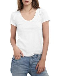 Velvet By Graham & Spencer | White Scoopneck Cotton Tee | Lyst