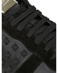 Valentino - Black Rockstud Leather & Suede Sneakers - Lyst