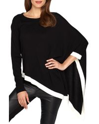 Catherine Malandrino | Black 'harper' Two-tone Asymmetrical Poncho Sweater | Lyst
