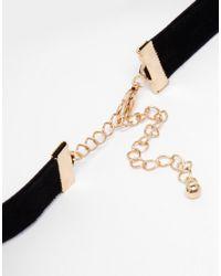 ASOS - Black Faux Pearl & Ribbon Choker Necklace - Lyst