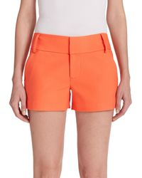 Alice + Olivia - Orange Cady Cotton Sateen Shorts - Lyst