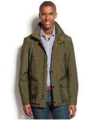Michael Kors | Green Michael Hampstead Faux-Leather-Trim Field Coat for Men | Lyst
