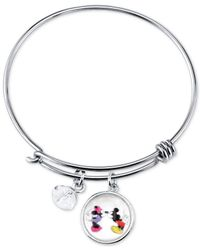 Disney | Metallic Mickey And Minnie Mouse Charm Bracelet In Stainless Steel With Silver-plated Charms | Lyst