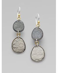 Gurhan | Metallic Sterling Silver 24k Gold Twodrop Earrings | Lyst