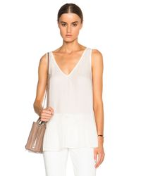 The Great - White V Neck Flounce Top - Lyst