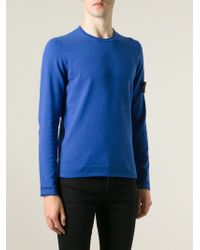 Stone Island - Blue Logo Patch Sweater for Men - Lyst