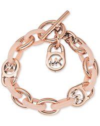 Michael Kors | Pink Rose Gold-tone Fulton Toggle Bracelet | Lyst