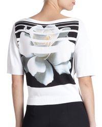 Carolina Herrera - Multicolor Digital-Print Flower Sweater - Lyst