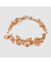 Gucci | Gucci Flora Necklace In Pink Gold | Lyst