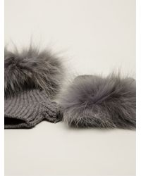 Inverni - Gray Coyote Fur Trimmed Gloves - Lyst