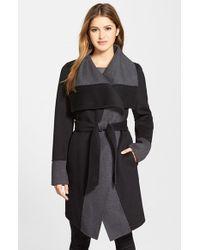 Diane von Furstenberg | Black 'mackenzie' Two-tone Cozy Coat | Lyst