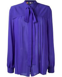 MSGM - Blue Pussy Bow Band Collar Blouse - Lyst