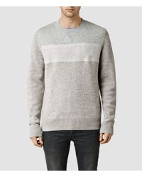 AllSaints - Gray Bracton Crew Jumper for Men - Lyst