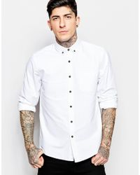 ASOS - Oxford Shirt In White With Contrast Buttons And Long Sleeves In Regular Fit for Men - Lyst