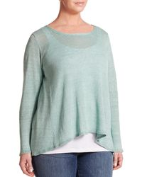 Eileen Fisher | Green Linen Hi-lo Top | Lyst