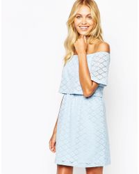 Fashion Union - Blue Off Shoulder Crop Dress In Floral Lace - Lyst