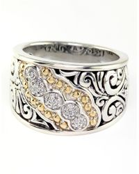 Effy | Metallic Balissima Sterling Silver With 18kt. Yellow Gold Five Stone Diamond Ring | Lyst