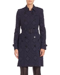 Burberry   Blue Double-breasted Lace Trench Coat   Lyst