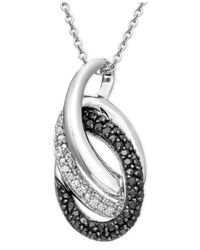 Macy's - Metallic Sterling Silver Necklace, Black And White Diamond Double Oval Pendant (1/3 Ct. T.W.) - Lyst