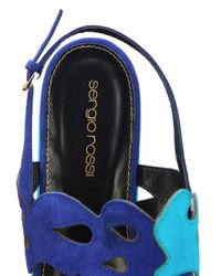 Sergio Rossi | Blue Cut-Out Suede Flatform Sandals | Lyst