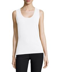 Neiman Marcus - White Scoop-neck Cashmere Tank - Lyst