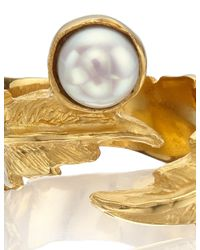 Leivan Kash | Metallic Gold Pearl Feather Pinky Ring | Lyst