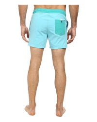 "Lacoste | Blue Poplin Color Block Waist Swim Short 5"" for Men | Lyst"