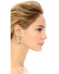 Elizabeth Cole - Metallic Crystal Tri Earrings - Lyst