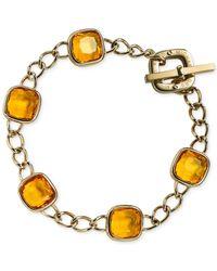 Michael Kors - Metallic Gold-Tone Citrine Crystal Link Bracelet - Lyst