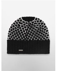 Calvin Klein | Black White Label Metallic Brick Stitch Beanie | Lyst