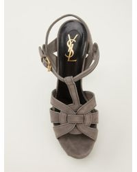 Saint Laurent - Gray 'tribute' Sandals - Lyst