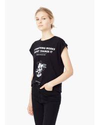 Mango - Black Printed Cotton-blend T-shirt - Lyst