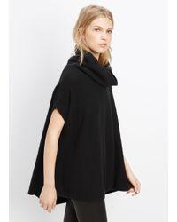 VINCE | Black Cashmere Ribbed Cap Sleeve Turtleneck | Lyst