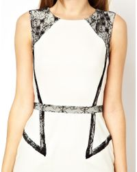 Oasis - White Pencil Dress with Lace Inserts - Lyst