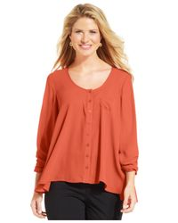 Style & Co. | Orange Button-front Peasant Blouse | Lyst