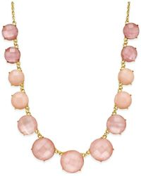 kate spade new york | Pink Gold-tone Stone Frontal Necklace | Lyst