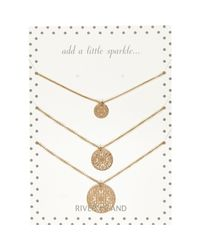 River Island - Metallic Gold Tone Filigree Coin Necklace Pack - Lyst