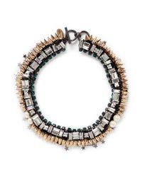 Venna | Metallic Star Charm Spike Collar Necklace | Lyst